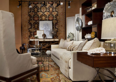 Dan Davis Design layered in neutrals atop these one of a kind rugs for Michigan Design Center's Haute House Event