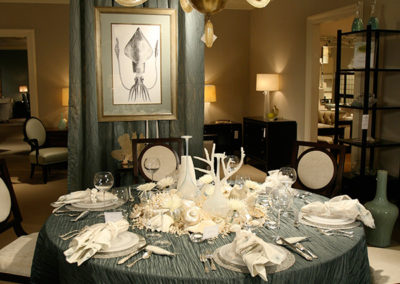 Dan Davis Design created this seafood dinner table setting at Baker showroom in the Michigan Design Center