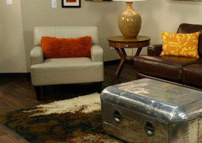 New and vintage furnishings keep this editing suite relaxed and stylish.