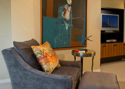 Our clients loved collecting art. We incorporated it into this reading area in the master suite.