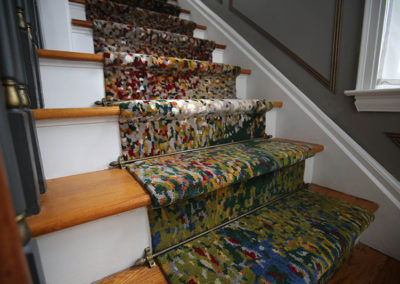 Like an impressionistic painting, the look of this custom-made hand-knotted runner changes as you get closer to it.