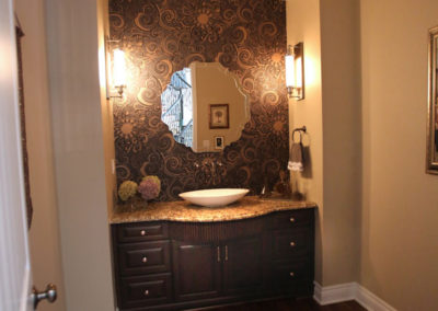 This bathroom is both fun and glamorous.  Just like our clients asked us for.