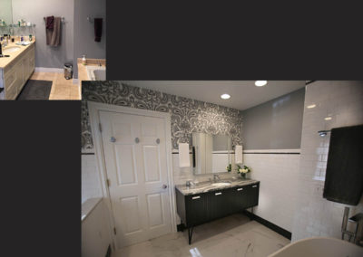 A standard builder grade bathroom is transformed into a spa-like retreat with a striking black and white color scheme and the graphic, yet traditionally patterned, wallcovering.