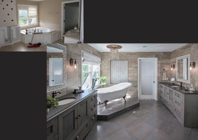 A large but boring bathroom is now a retreat for him and her.  A soaking tub, his and her vanities, elaborate tile work and a great view<br />all add to the tranquil feel of this master bath.