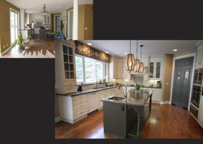 The bones of this existing kitchen were good but updating the backsplash, lighting and window treatments created a more personalized space for the client.