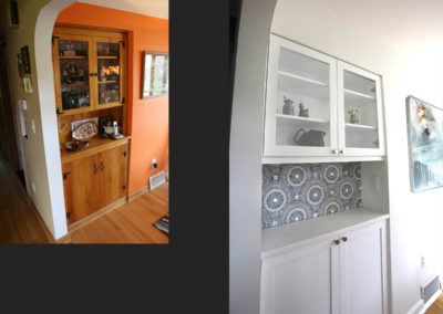 This built-in hutch was worn out. We replaced it with a much lighter and livelier version.